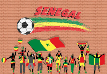 Senegalese football fans cheering with Senegal flag colors in front of soccer ball graffiti