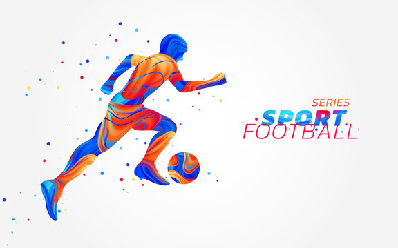Vector football player with colorful spots isolated on white background. Liquid design with colored paintbrush. Soccer illustration with ball. Sports, athletics or competition theme. Winning concept