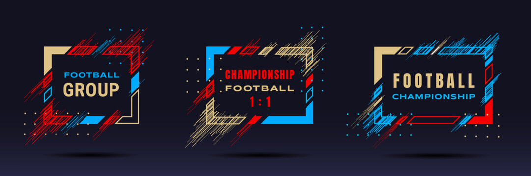 Football cup, soccer championship illustration. Vector frames with dynamic lines isolated on black background. Glitch effect. Holographic element for design cards, invitations, flyers, brochures