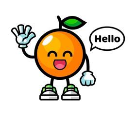 Orange say hello mascot cartoon illustration
