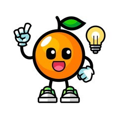 Orange get the idea mascot cartoon illustration