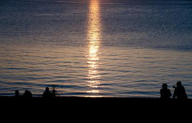 Sunset watchers at Semiahmoo Bay - 3