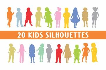 20 Kids Children Silhouettes various design
