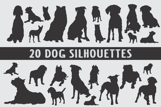 20 Dogs Silhouettes various design set