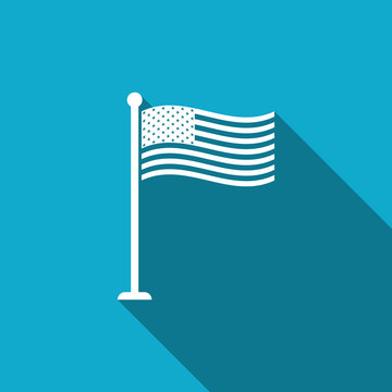 National flag of USA on flagpole icon isolated with long shadow. American flag sign. Flat design. Vector Illustration