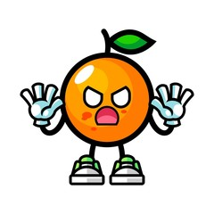 Orange zombie mascot cartoon illustration