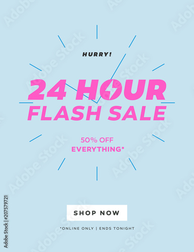 24 HOUR Flash Sale Limited Offer Banner Special Discount Email Template Trendy Color