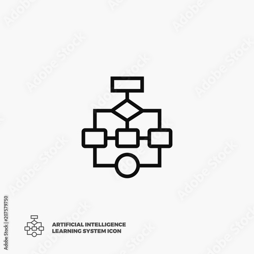 Flow Chart Vector Icon Flat Pixel Perfect Flowchart Linear Icon