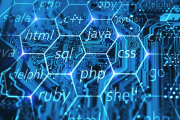 Programming language and development of applications concept on blue integrated circuit. Training courses of php, sql, html, css and other disciplines.