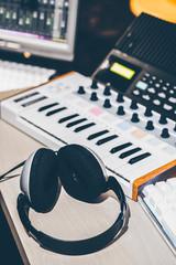 headphone, music keyboard and studio equipment