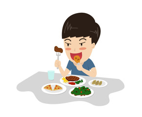 Vector illustration of a boy enjoy eating meal yummy on table - character cartoon
