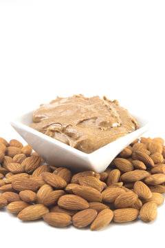 Almond Butter on a White Background