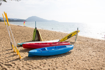 kayaks on sand beach