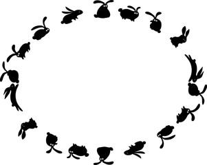 rabbit border design background