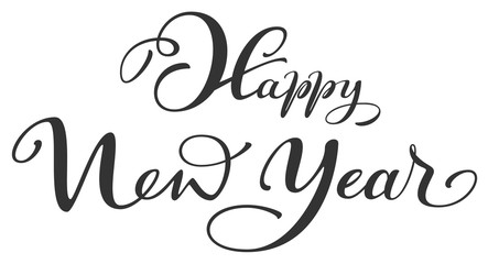 Happy New Year ornate handwriting lettering text