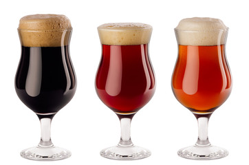Papiers peints Biere, Cidre Beers collection poured in wineglasses with foam - lager, red ale, porter - isolated on white background.