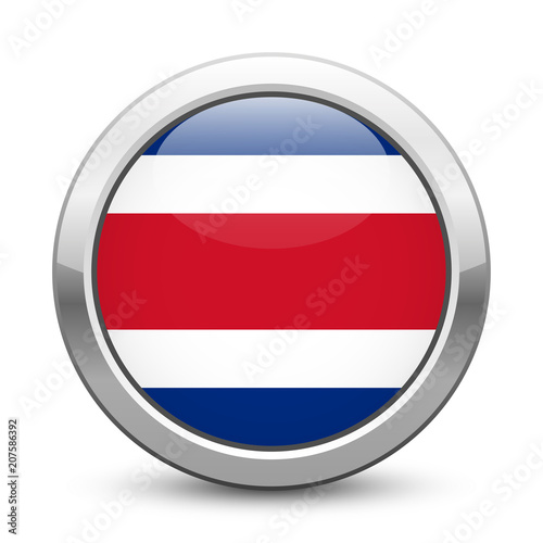 Costa Rica Shiny Metallic Button With National Flag Costa Rican