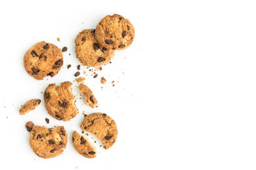 Photo sur Toile Biscuit homemade chocolate chips cookies on white background in top view