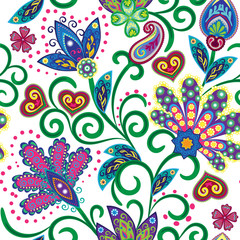 Hand drawn flower seamless pattern. Colorful seamless pattern with pargeting grunge whimsical flowers and paisley. Bright colors on white background. Vector