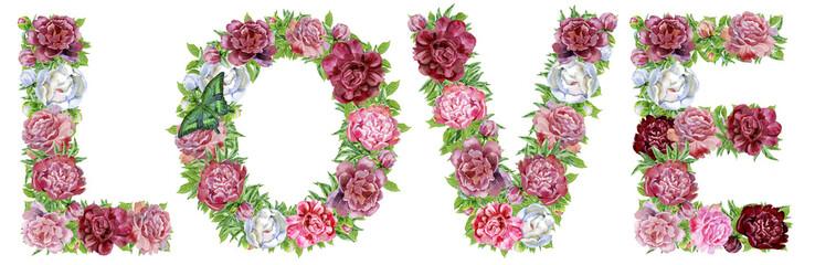 Word LOVE of watercolor flowers