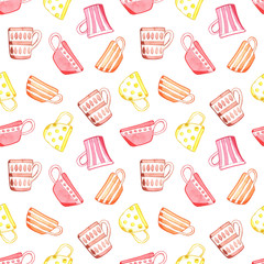Seamless pattern with tea cups. Watercolor illustration.