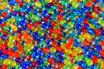 Texture of multicolored hydrogel balls for the background