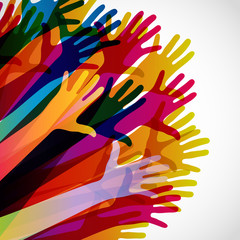Colorful silhouettes hands up on a light background. Vector symbol illustration.