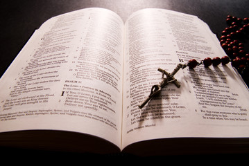 Holy Bible with Rosary