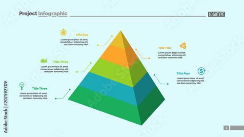 five level pyramid chart. diagram, slide, template. creative concept, Presentation Pyramid Template, Presentation templates