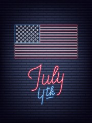 July 4th. USA Independence Day neon sign. USA National flag and lettering for July Fourth celebration