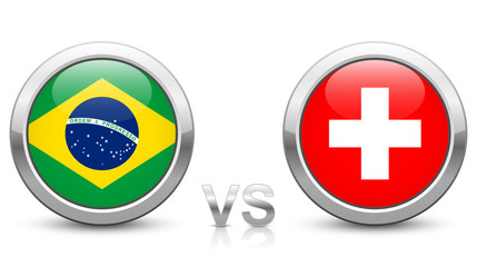 Brazil vs Switzerland - Match 9 - Group E - 2018 tournament. Shiny metallic icons buttons with national flags isolated on white background.