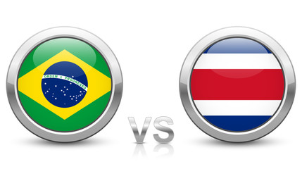 Brazil vs Costa Rica - Match 25 - Group E - 2018 tournament. Shiny metallic icons buttons with national flags isolated on white background.