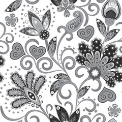 Vintage pattern in indian batik style. Floral hand draw vector background. Gray on white.