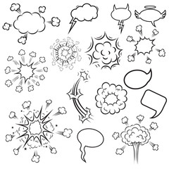 Set of pop art style cartoon explosions. Design element for poster, card, banner, flyer.
