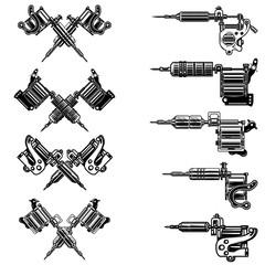 Set of tattoo machine illustrations. Design element for logo, label, emblem, sign, badge.