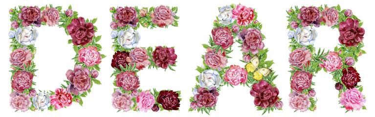 Word DEAR of watercolor flowers