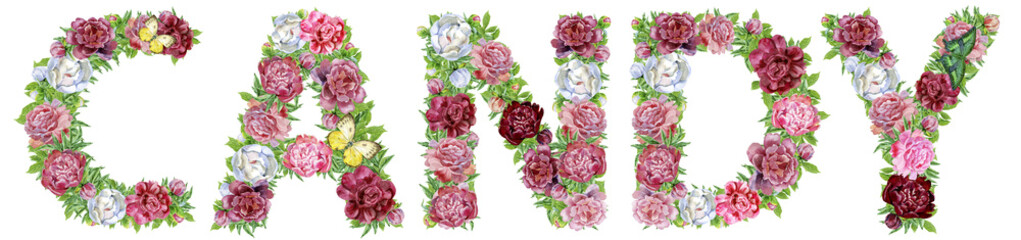 Word CANDY of watercolor flowers