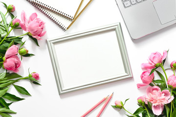 Blogger's background with a frame for a text, view from above