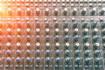 Control details on the mixing console