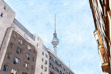 Creative Illustration - Berlin Television Tower, perspective from a downtown street, with historic buildings