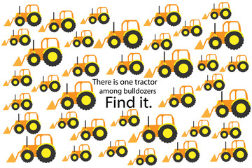 Find tractor among bulldozers, fun education puzzle game with transport for children, preschool worksheet activity for kids, task for the development of logical thinking and mind, vector illustration