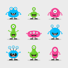 Cool, fun, cute Creature / alien - blue, green, pink & black - vector illustration
