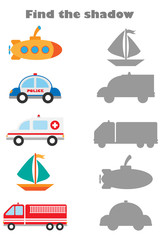 Find the shadow game with pictures of different transport for children, education game for kids, preschool worksheet activity, task for the development of logical thinking, vector illustration