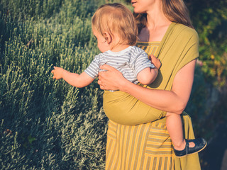 Mother an child touching nature