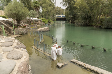 Yardenit, Israel- May 6, 2018 : Yardenit baptism site on a Jordan River in Israel. modern site commemorating Christ's baptism was established at Yardenit in Israel