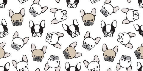 Dog seamless pattern french bulldog pug head vector wallpaper background repeat cartoon isolated