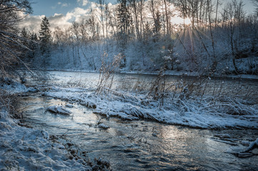 Small river in winter, with sunbeams filtering through bare birch trees. Baltic. Latvia.