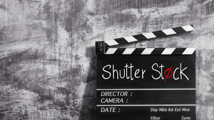 shutter stock text title on clapper board