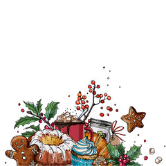 Christmas decor, plants line drawn on a white background