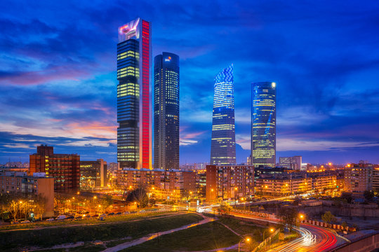 Spain financial district skyline at twilight